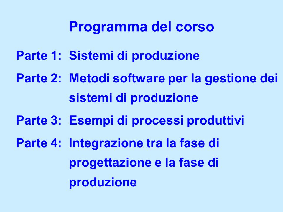 Parte 1: Sistemi di produzione Parte 2: Metodi software per la gestione dei sistemi di produzione Parte 3: Esempi di processi produttivi Parte 4: Inte