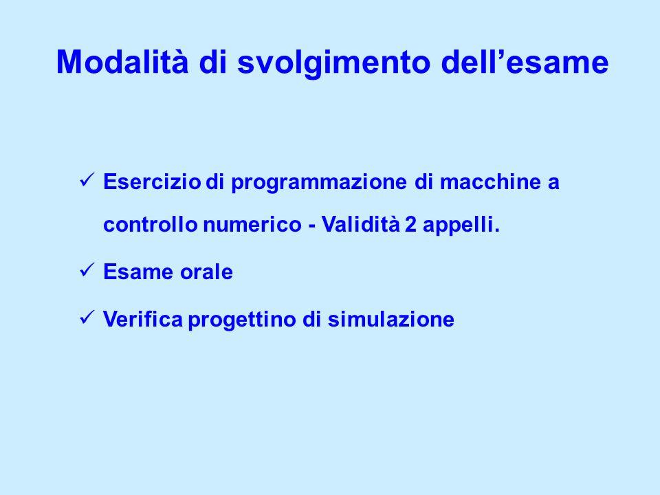 Modalità di svolgimento dellesame Esercizio di programmazione di macchine a controllo numerico - Validità 2 appelli. Esame orale Verifica progettino d