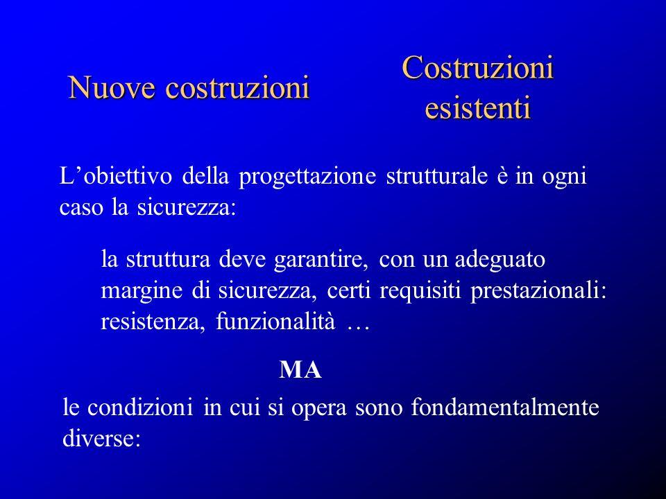 Lobiettivo della progettazione strutturale è in ogni caso la sicurezza: Nuove costruzioni Costruzioni esistenti la struttura deve garantire, con un ad