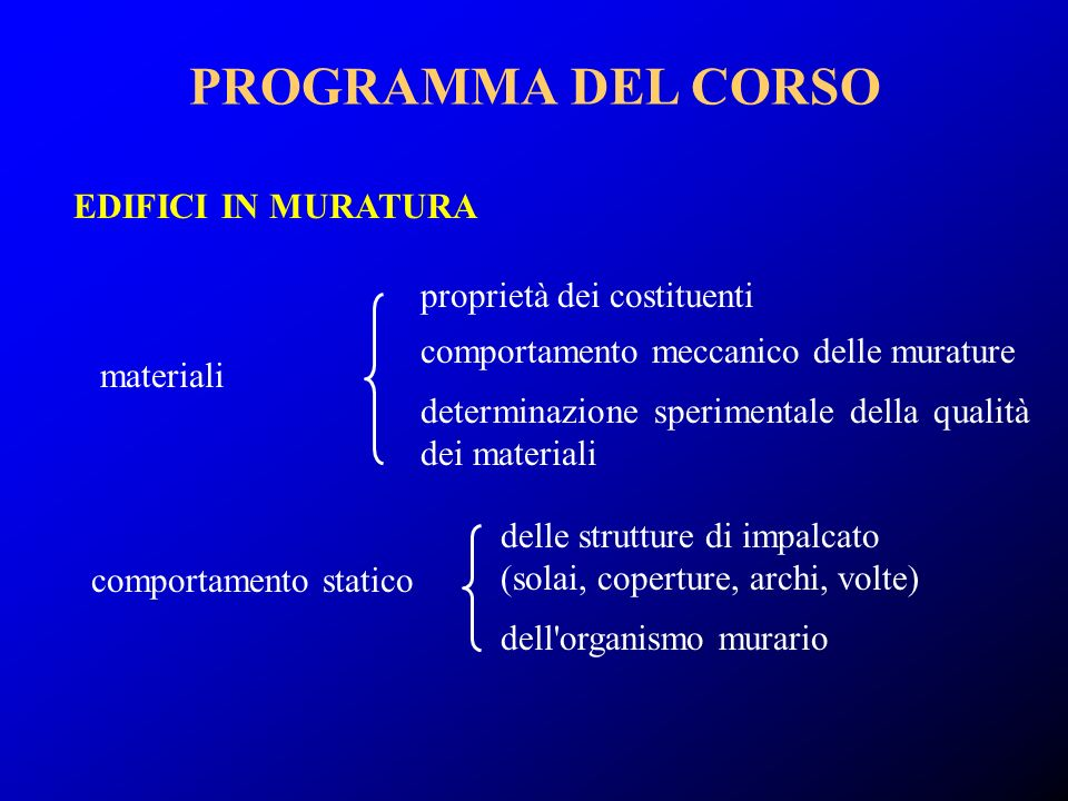 proprietà dei costituenti comportamento meccanico delle murature determinazione sperimentale della qualità dei materiali EDIFICI IN MURATURA comportam