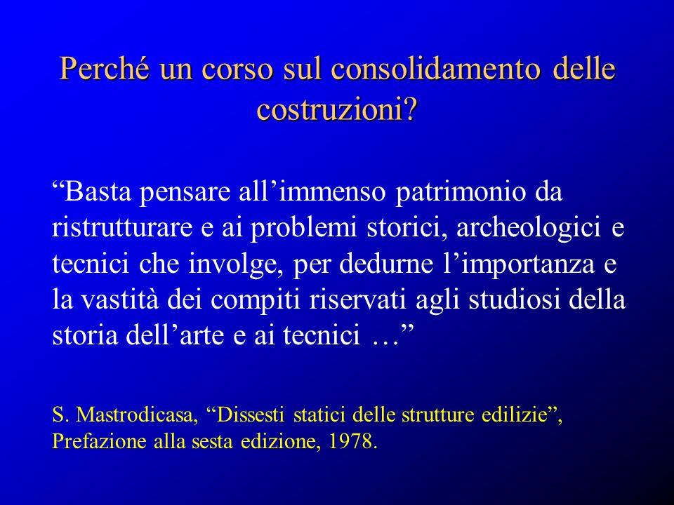 Perché un corso sul consolidamento delle costruzioni? Basta pensare allimmenso patrimonio da ristrutturare e ai problemi storici, archeologici e tecni