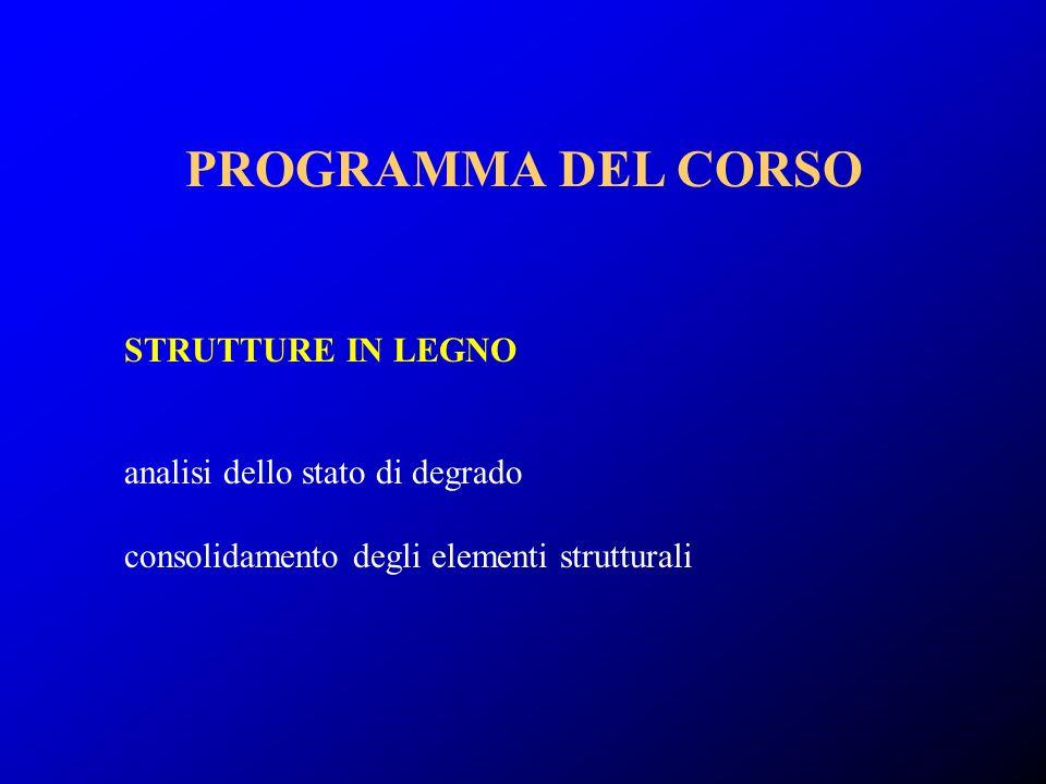 analisi dello stato di degrado consolidamento degli elementi strutturali STRUTTURE IN LEGNO PROGRAMMA DEL CORSO
