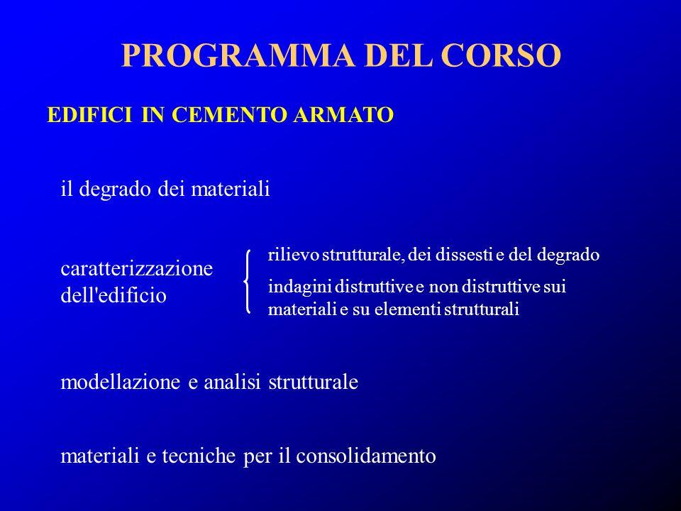EDIFICI IN CEMENTO ARMATO PROGRAMMA DEL CORSO materiali e tecniche per il consolidamento caratterizzazione dell'edificio rilievo strutturale, dei diss