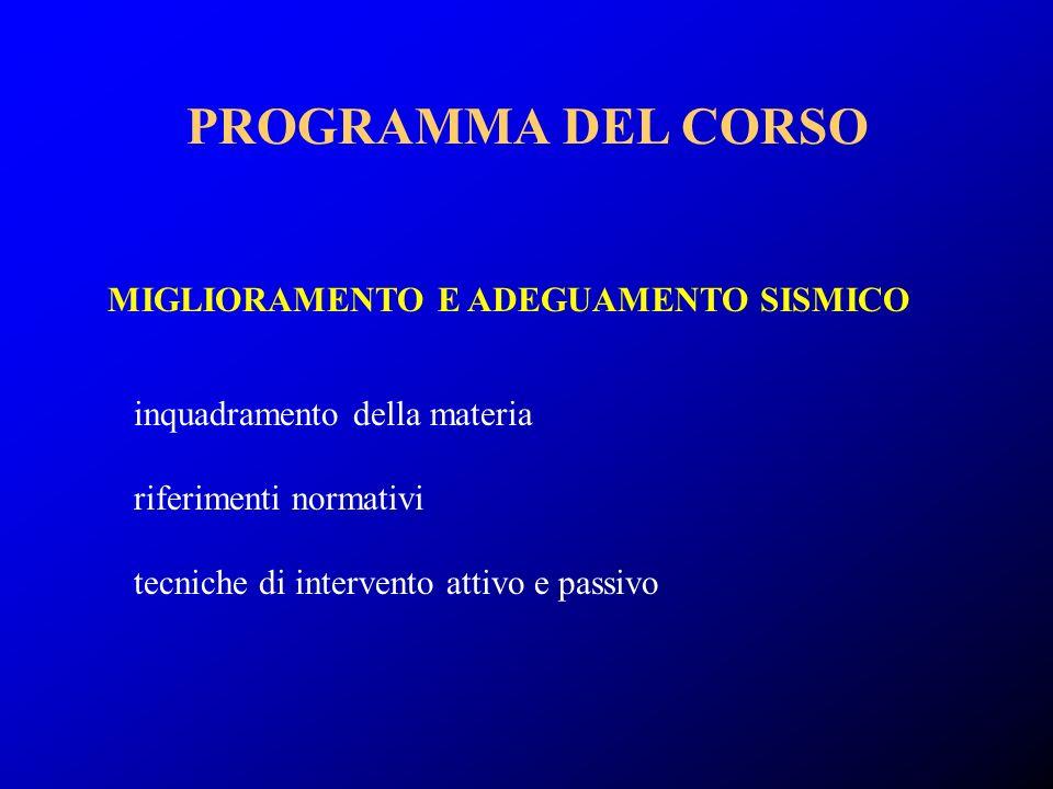 inquadramento della materia riferimenti normativi tecniche di intervento attivo e passivo MIGLIORAMENTO E ADEGUAMENTO SISMICO PROGRAMMA DEL CORSO