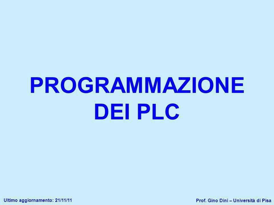 PROGRAMMAZIONE DEI PLC Prof. Gino Dini – Università di Pisa Ultimo aggiornamento: 21/11/11