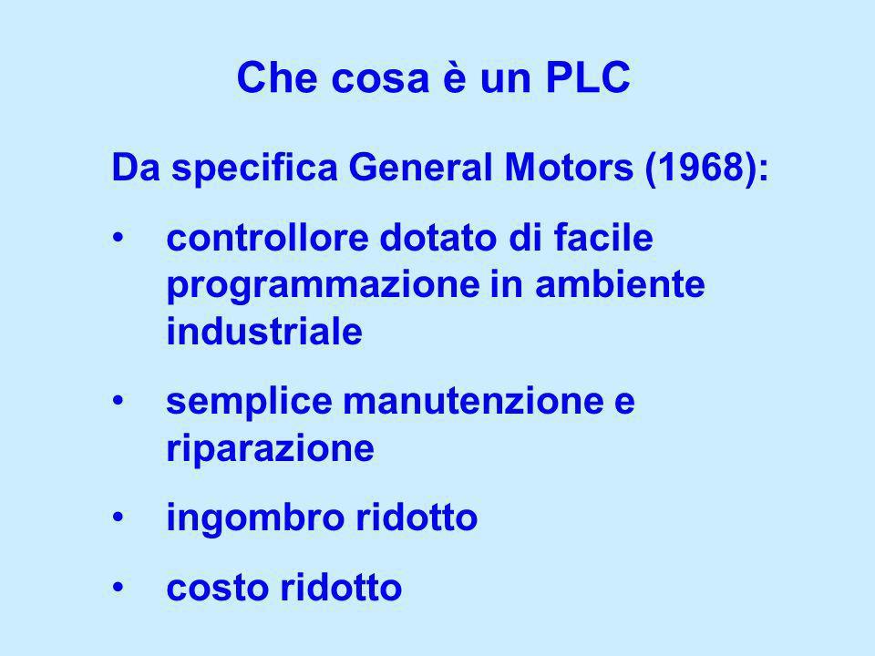 Che cosa è un PLC Da specifica General Motors (1968): controllore dotato di facile programmazione in ambiente industriale semplice manutenzione e ripa