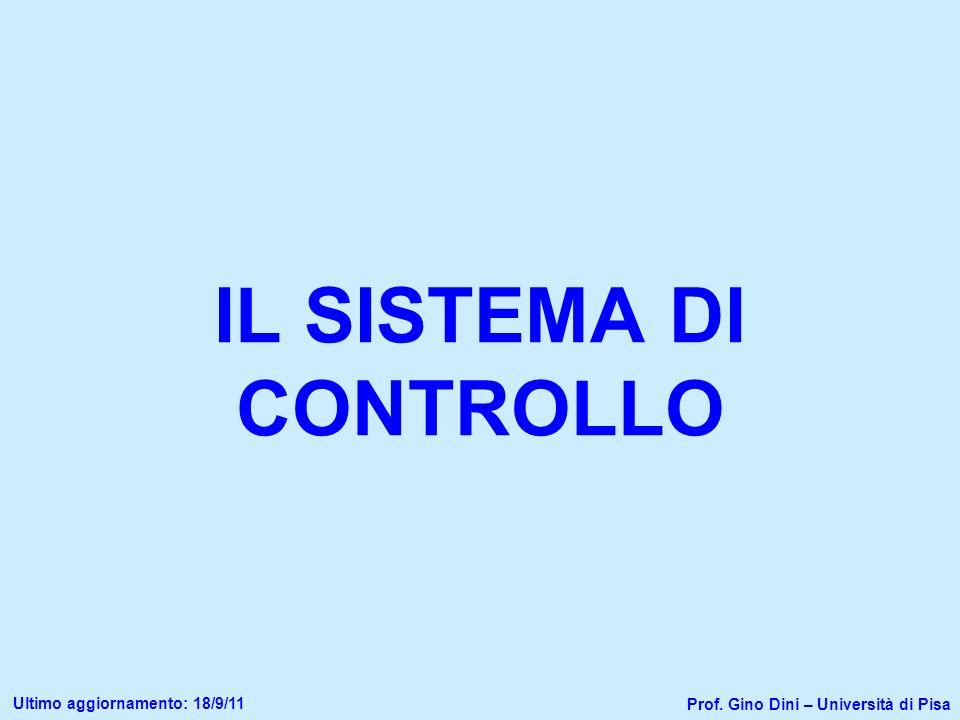 IL SISTEMA DI CONTROLLO Prof. Gino Dini – Università di Pisa Ultimo aggiornamento: 18/9/11