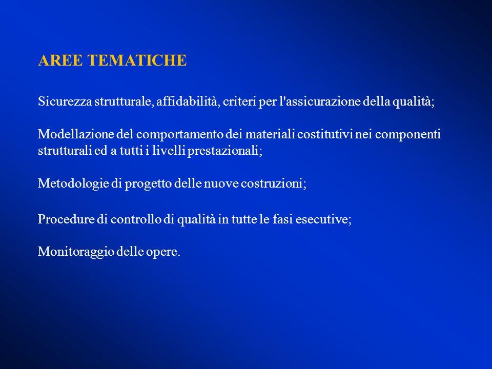 AREE TEMATICHE Sicurezza strutturale, affidabilità, criteri per l'assicurazione della qualità; Modellazione del comportamento dei materiali costitutiv