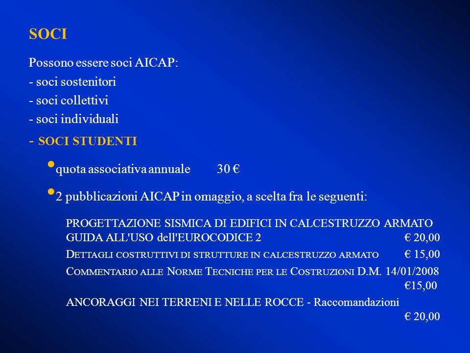 SOCI Possono essere soci AICAP: - soci sostenitori - soci collettivi - soci individuali - SOCI STUDENTI quota associativa annuale30 2 pubblicazioni AI