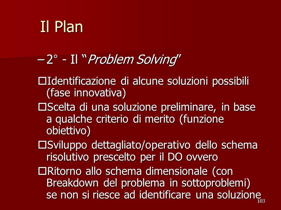103 –2° - Il Problem Solving o Identificazione di alcune soluzioni possibili (fase innovativa) o Scelta di una soluzione preliminare, in base a qualch