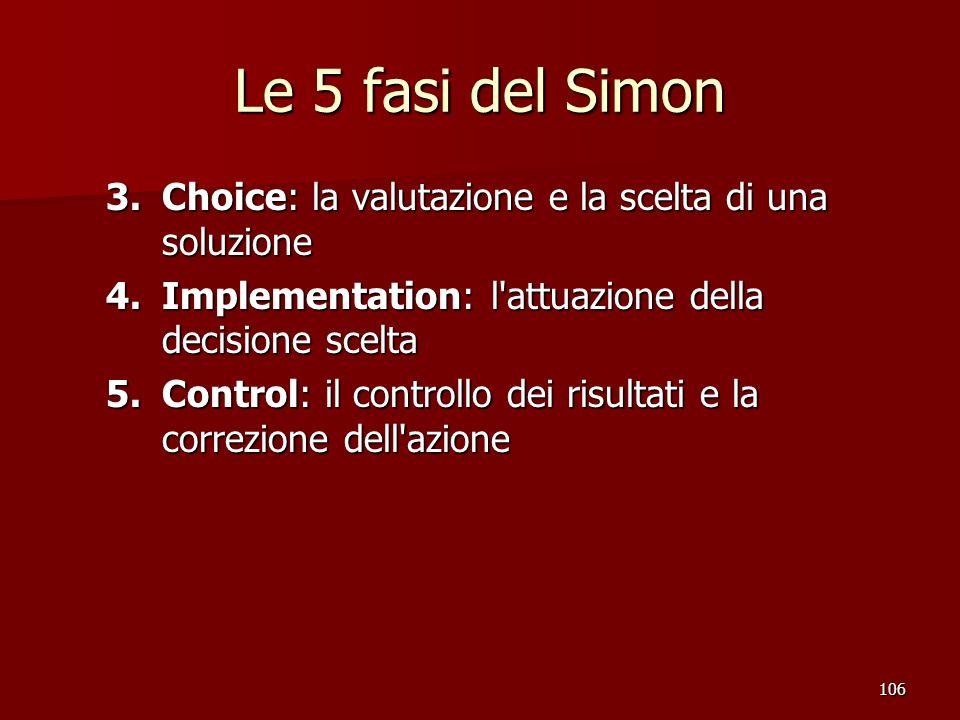 106 Le 5 fasi del Simon 3.Choice: la valutazione e la scelta di una soluzione 4.Implementation: l'attuazione della decisione scelta 5.Control: il cont