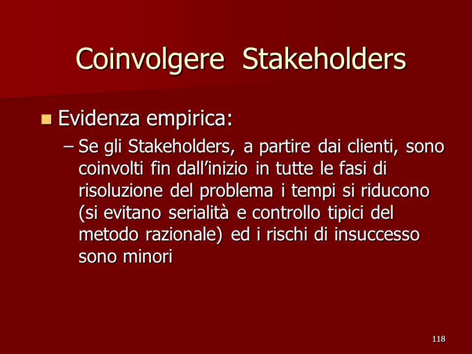 118 Coinvolgere Stakeholders Evidenza empirica: Evidenza empirica: –Se gli Stakeholders, a partire dai clienti, sono coinvolti fin dallinizio in tutte