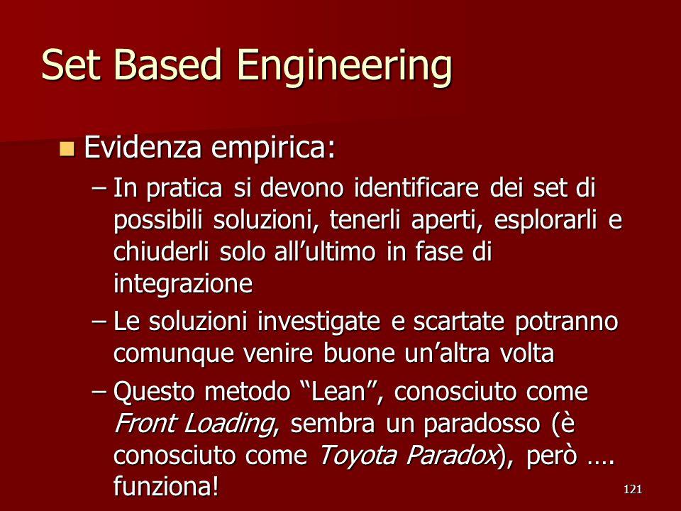 121 Set Based Engineering Evidenza empirica: Evidenza empirica: –In pratica si devono identificare dei set di possibili soluzioni, tenerli aperti, esp
