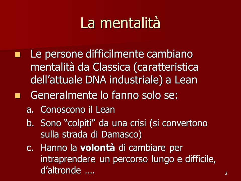 73 Mentalità Lean Le giacenze sono MUDA (spreco = peccato mortale) e, quindi, vanno ridotte anzi vanno eliminate .