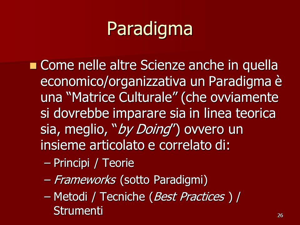 26 Paradigma Come nelle altre Scienze anche in quella economico/organizzativa un Paradigma è una Matrice Culturale (che ovviamente si dovrebbe imparar
