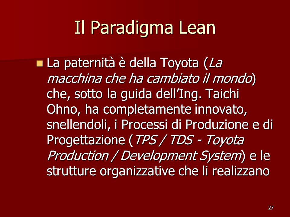 27 Il Paradigma Lean La paternità è della Toyota (La macchina che ha cambiato il mondo) che, sotto la guida dellIng. Taichi Ohno, ha completamente inn