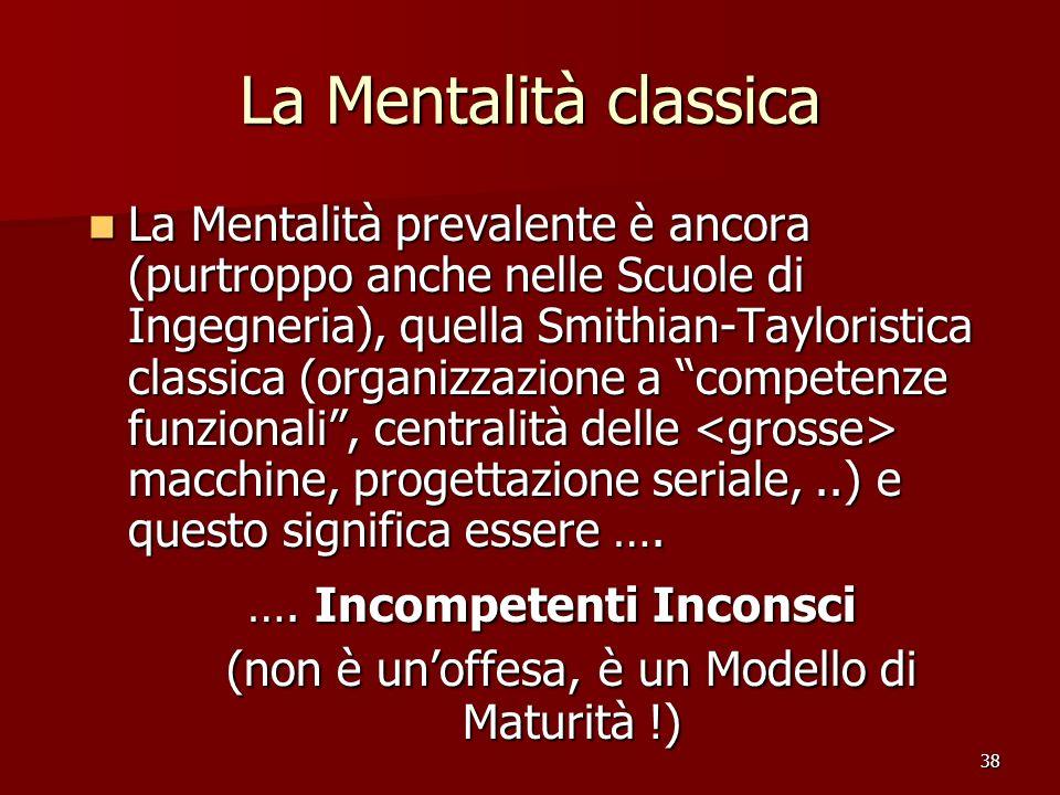 38 La Mentalità classica La Mentalità prevalente è ancora (purtroppo anche nelle Scuole di Ingegneria), quella Smithian-Tayloristica classica (organiz