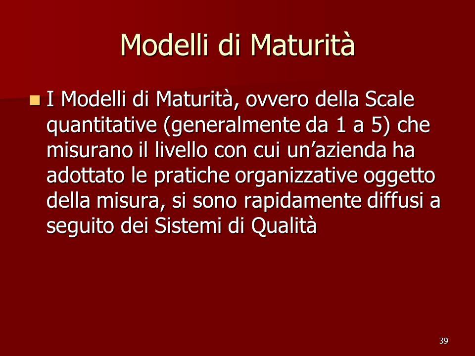 39 Modelli di Maturità I Modelli di Maturità, ovvero della Scale quantitative (generalmente da 1 a 5) che misurano il livello con cui unazienda ha ado