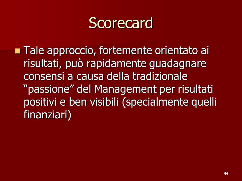 44 Scorecard Tale approccio, fortemente orientato ai risultati, può rapidamente guadagnare consensi a causa della tradizionale passione del Management