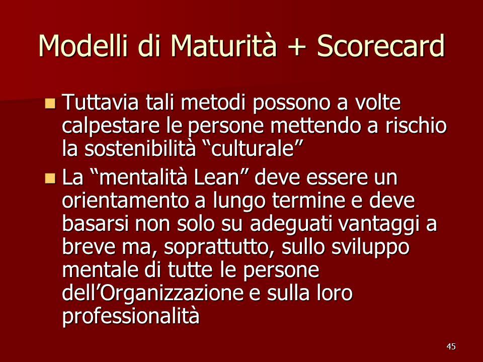 45 Modelli di Maturità + Scorecard Tuttavia tali metodi possono a volte calpestare le persone mettendo a rischio la sostenibilità culturale Tuttavia t