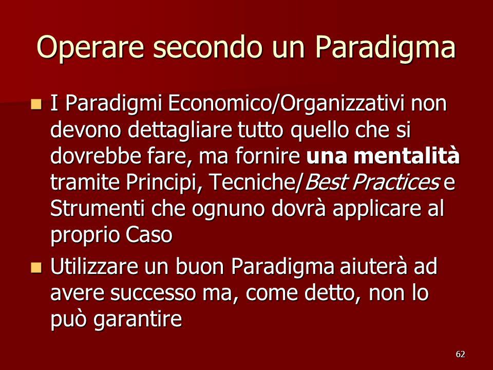 62 Operare secondo un Paradigma I Paradigmi Economico/Organizzativi non devono dettagliare tutto quello che si dovrebbe fare, ma fornire una mentalità