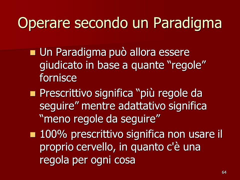 64 Operare secondo un Paradigma Un Paradigma può allora essere giudicato in base a quante regole fornisce Un Paradigma può allora essere giudicato in