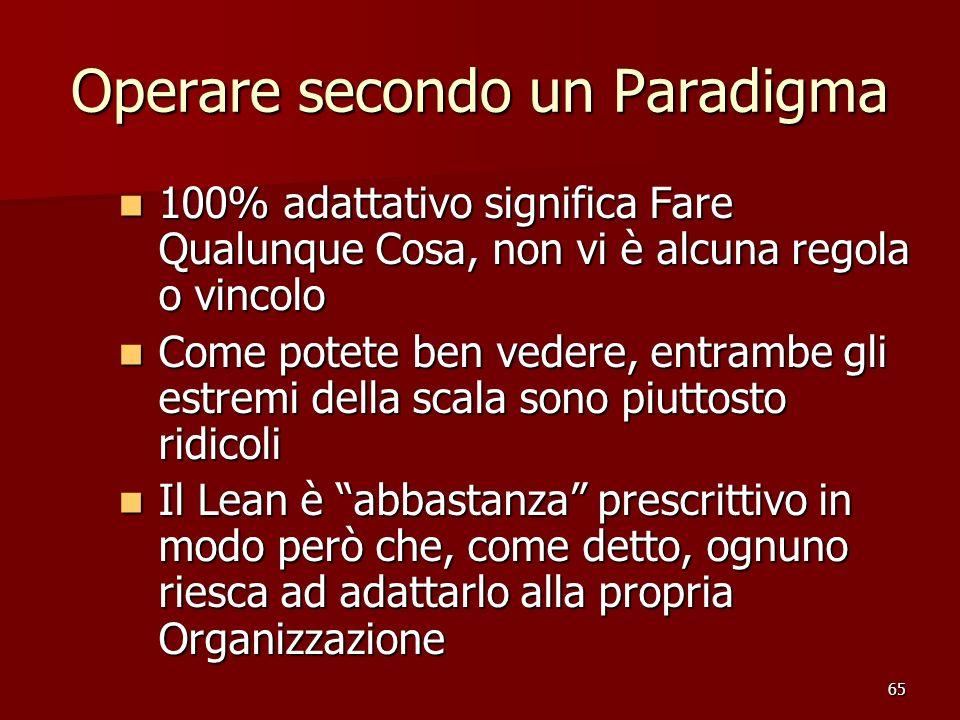 65 Operare secondo un Paradigma 100% adattativo significa Fare Qualunque Cosa, non vi è alcuna regola o vincolo 100% adattativo significa Fare Qualunq