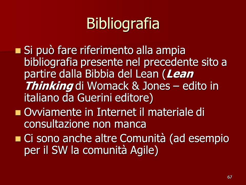 67 Bibliografia Si può fare riferimento alla ampia bibliografia presente nel precedente sito a partire dalla Bibbia del Lean (Lean Thinking di Womack