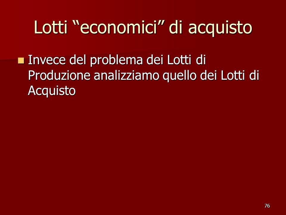 76 Lotti economici di acquisto Invece del problema dei Lotti di Produzione analizziamo quello dei Lotti di Acquisto Invece del problema dei Lotti di P