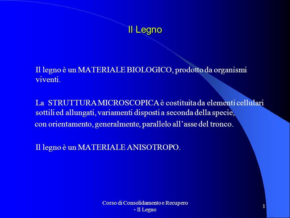 Corso di Consolidamento e Recupero - Il Legno 1 Il Legno Il legno è un MATERIALE BIOLOGICO, prodotto da organismi viventi. La STRUTTURA MICROSCOPICA è