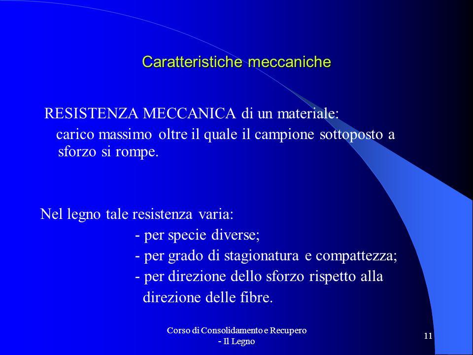 Corso di Consolidamento e Recupero - Il Legno 11 Caratteristiche meccaniche RESISTENZA MECCANICA di un materiale: carico massimo oltre il quale il cam