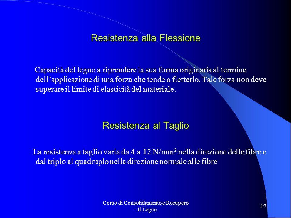 Corso di Consolidamento e Recupero - Il Legno 17 Resistenza alla Flessione Capacità del legno a riprendere la sua forma originaria al termine dellappl