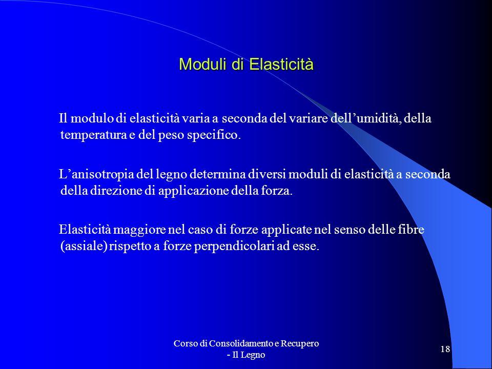 Corso di Consolidamento e Recupero - Il Legno 18 Moduli di Elasticità Il modulo di elasticità varia a seconda del variare dellumidità, della temperatu