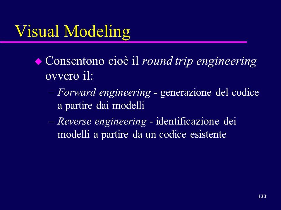 133 Visual Modeling u Consentono cioè il round trip engineering ovvero il: –Forward engineering - generazione del codice a partire dai modelli –Revers