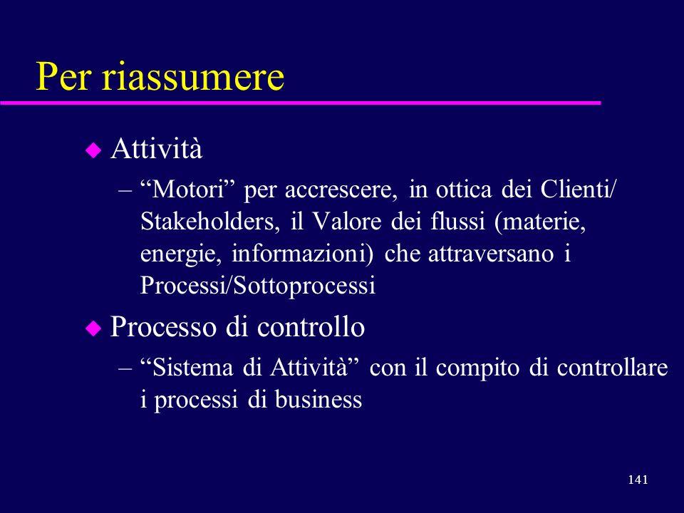 141 Per riassumere u Attività –Motori per accrescere, in ottica dei Clienti/ Stakeholders, il Valore dei flussi (materie, energie, informazioni) che a