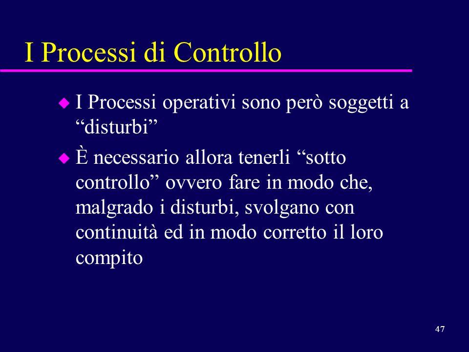 47 I Processi di Controllo u I Processi operativi sono però soggetti a disturbi u È necessario allora tenerli sotto controllo ovvero fare in modo che,