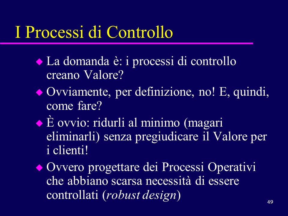 49 I Processi di Controllo u La domanda è: i processi di controllo creano Valore? u Ovviamente, per definizione, no! E, quindi, come fare? u È ovvio: