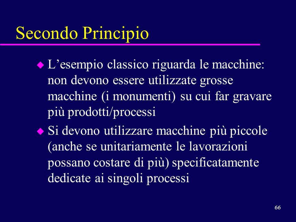 66 Secondo Principio u Lesempio classico riguarda le macchine: non devono essere utilizzate grosse macchine (i monumenti) su cui far gravare più prodo