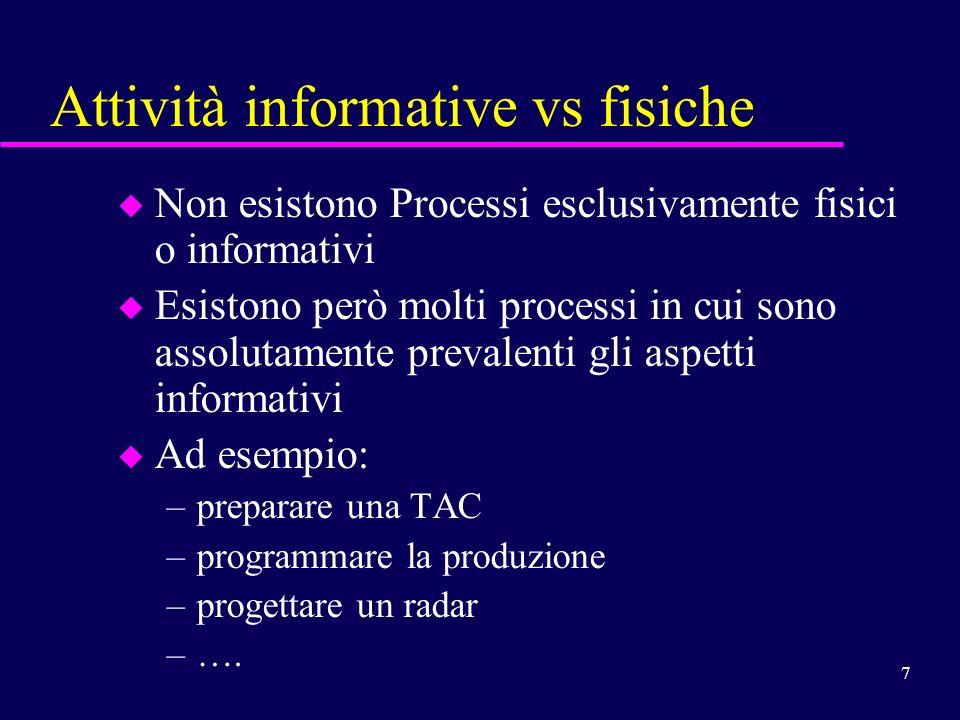 7 Attività informative vs fisiche u Non esistono Processi esclusivamente fisici o informativi u Esistono però molti processi in cui sono assolutamente