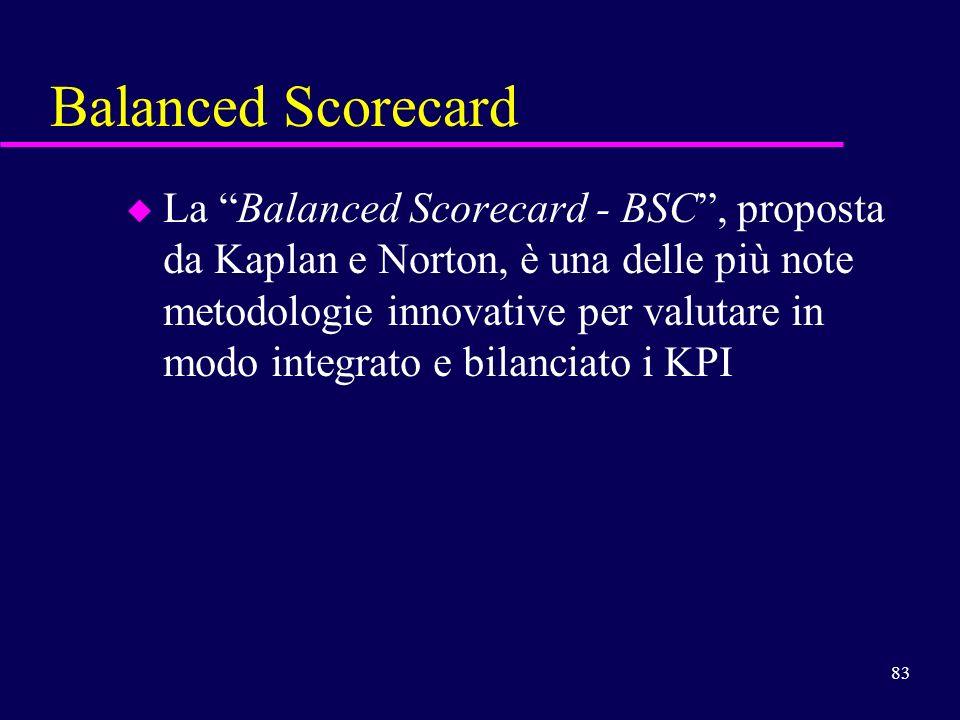 83 Balanced Scorecard u La Balanced Scorecard - BSC, proposta da Kaplan e Norton, è una delle più note metodologie innovative per valutare in modo int