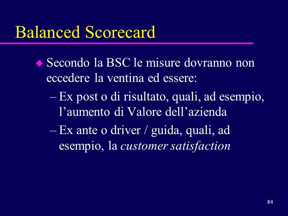 84 Balanced Scorecard u Secondo la BSC le misure dovranno non eccedere la ventina ed essere: –Ex post o di risultato, quali, ad esempio, laumento di V