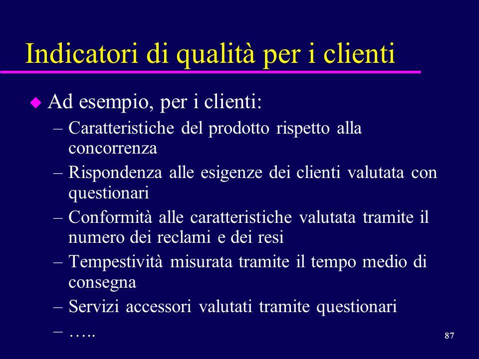 87 Indicatori di qualità per i clienti u Ad esempio, per i clienti: –Caratteristiche del prodotto rispetto alla concorrenza –Rispondenza alle esigenze