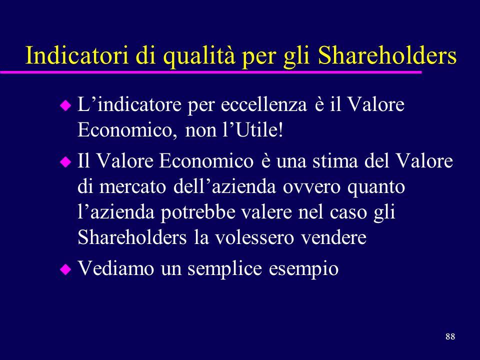 88 Indicatori di qualità per gli Shareholders u Lindicatore per eccellenza è il Valore Economico, non lUtile! u Il Valore Economico è una stima del Va