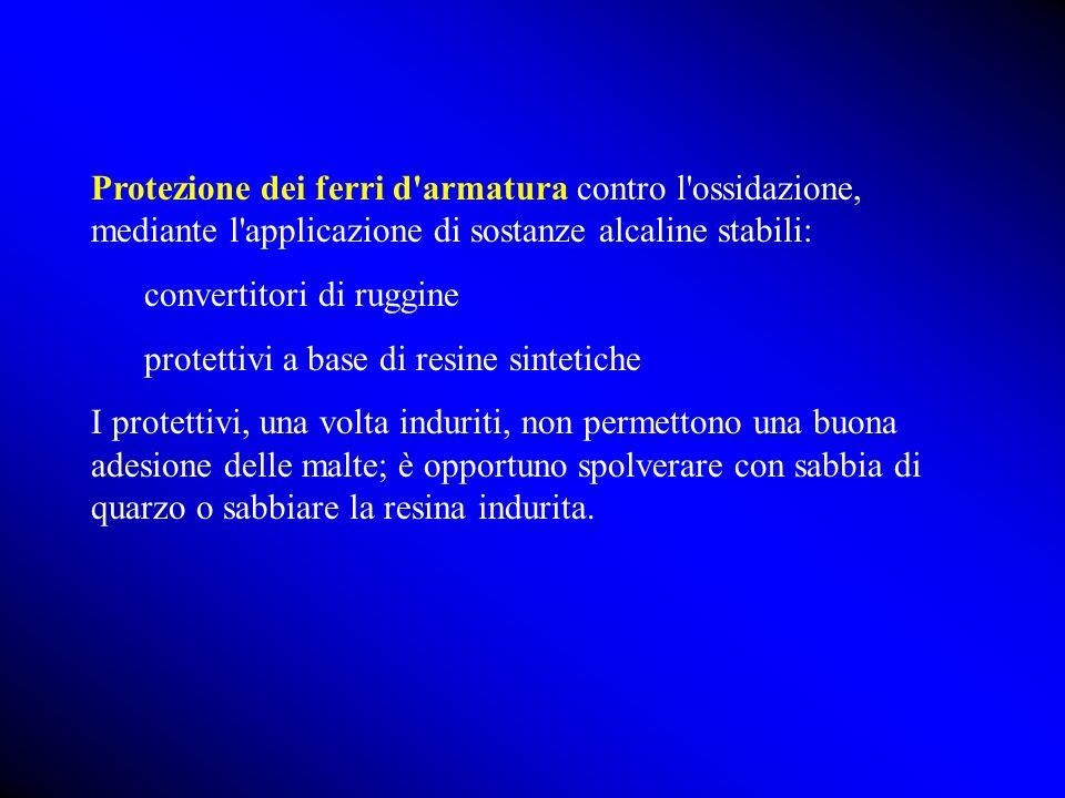 Protezione dei ferri d'armatura contro l'ossidazione, mediante l'applicazione di sostanze alcaline stabili: convertitori di ruggine protettivi a base
