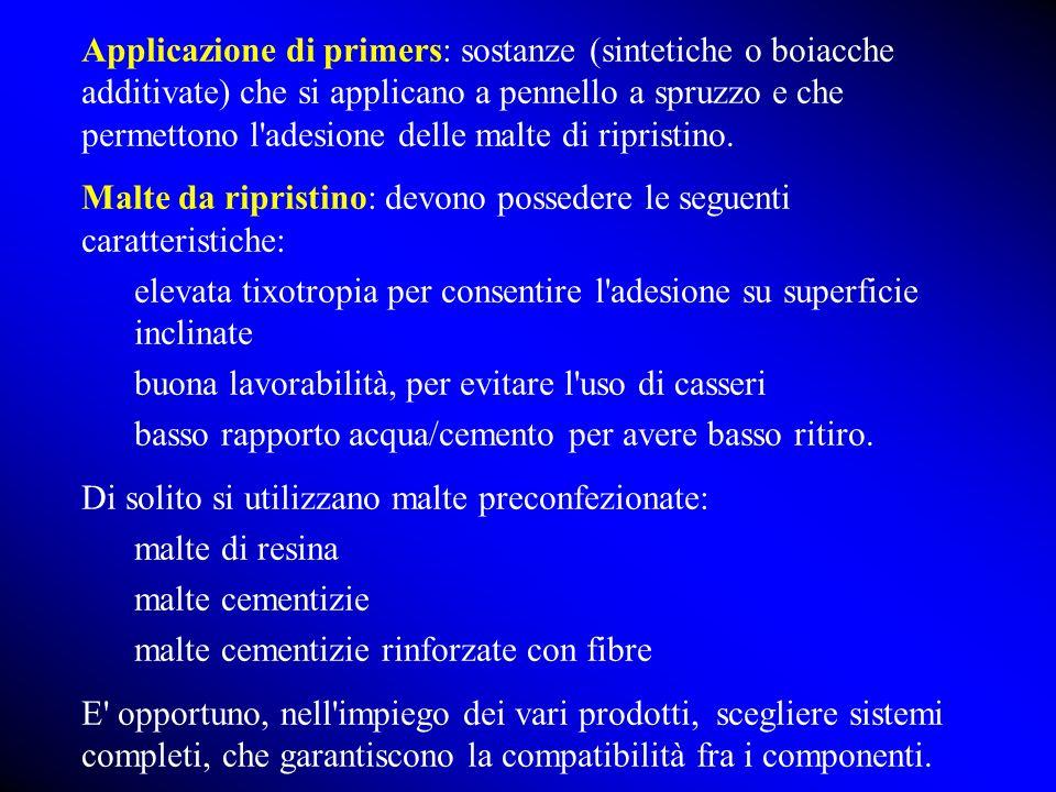Applicazione di primers: sostanze (sintetiche o boiacche additivate) che si applicano a pennello a spruzzo e che permettono l'adesione delle malte di