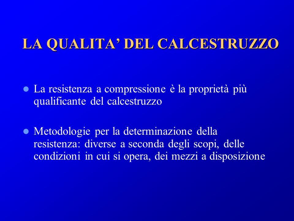 LA QUALITA DEL CALCESTRUZZO La resistenza a compressione è la proprietà più qualificante del calcestruzzo Metodologie per la determinazione della resi