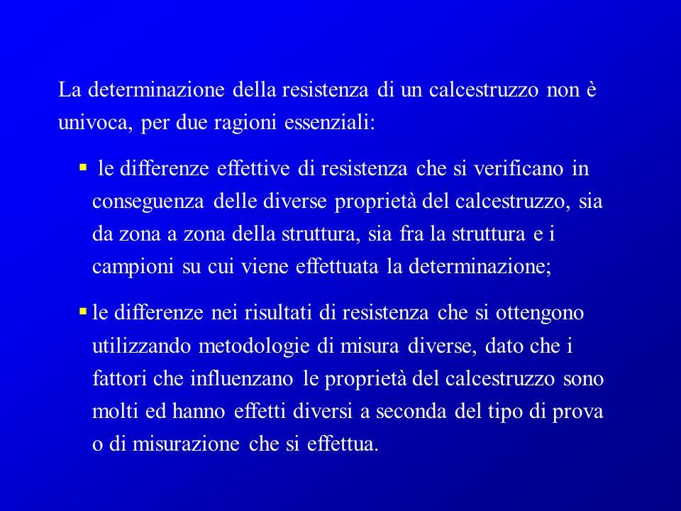 La determinazione della resistenza di un calcestruzzo non è univoca, per due ragioni essenziali: le differenze effettive di resistenza che si verifica