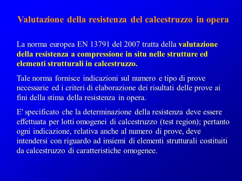 Valutazione della resistenza del calcestruzzo in opera La norma europea EN 13791 del 2007 tratta della valutazione della resistenza a compressione in