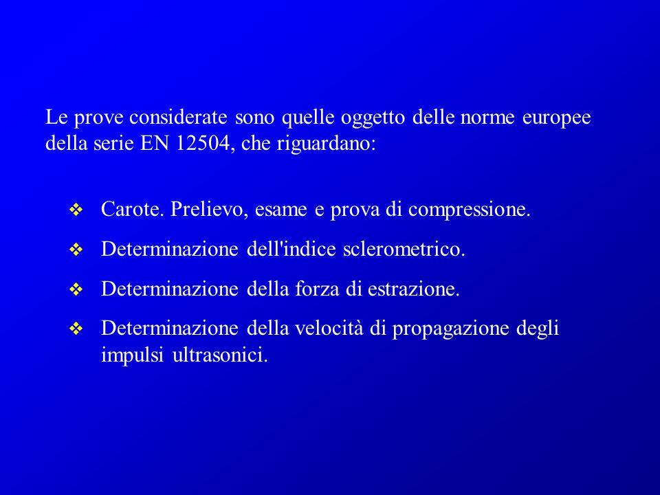 Le prove considerate sono quelle oggetto delle norme europee della serie EN 12504, che riguardano: Carote. Prelievo, esame e prova di compressione. De