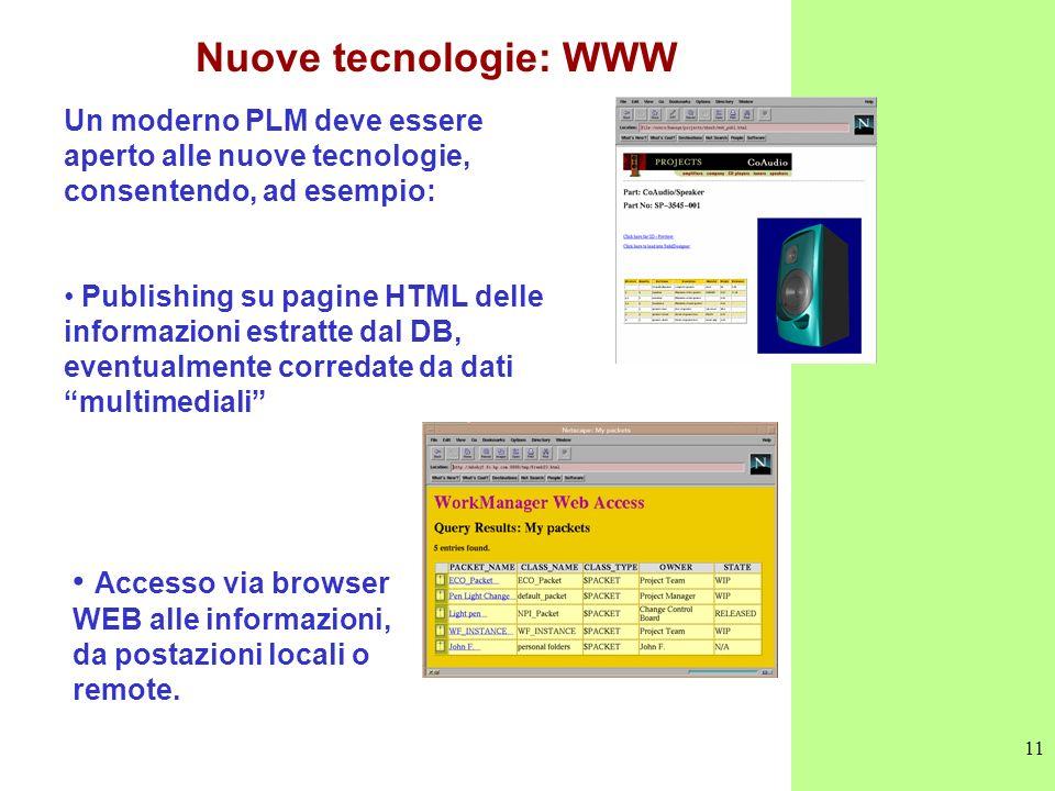 11 Nuove tecnologie: WWW Un moderno PLM deve essere aperto alle nuove tecnologie, consentendo, ad esempio: Publishing su pagine HTML delle informazion